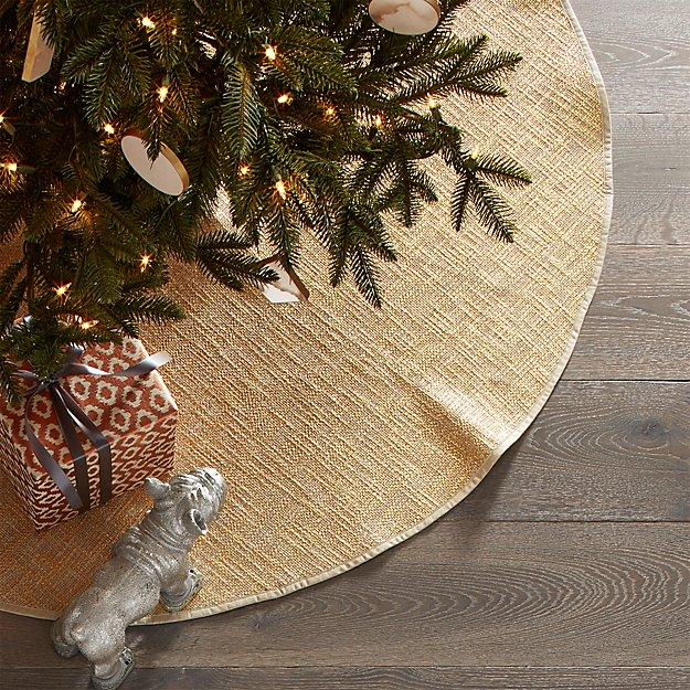 glitterati small gold tree skirt reviews cb2 - Small Christmas Tree Skirt