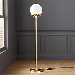 Modern floor lamps cb2 globe brass floor lamp aloadofball Image collections