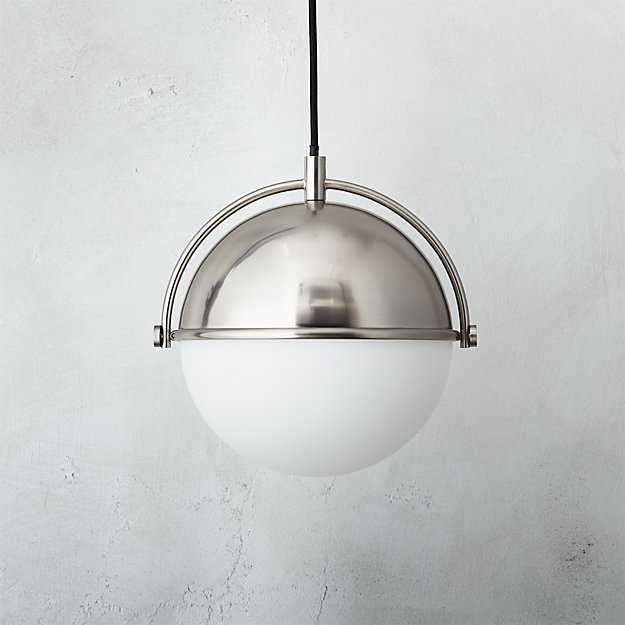 globe small brushed nickel pendant light reviews cb2
