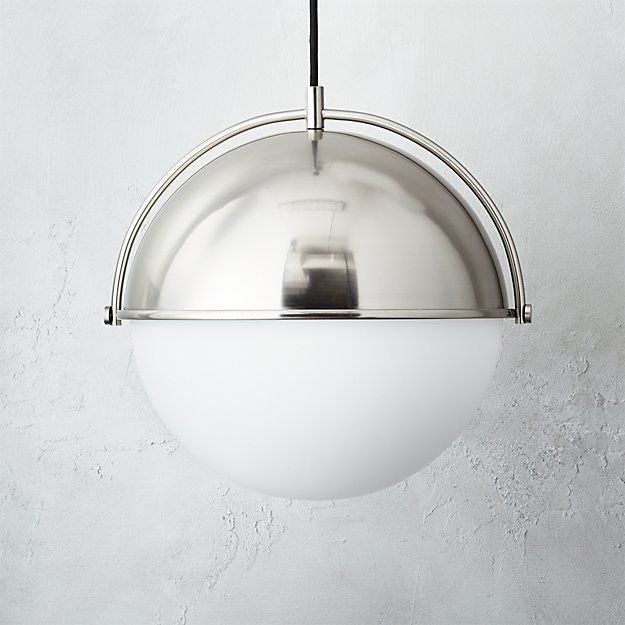 globe large brushed nickel pendant light reviews cb2