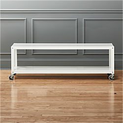 Go Cart White Rolling Media Console