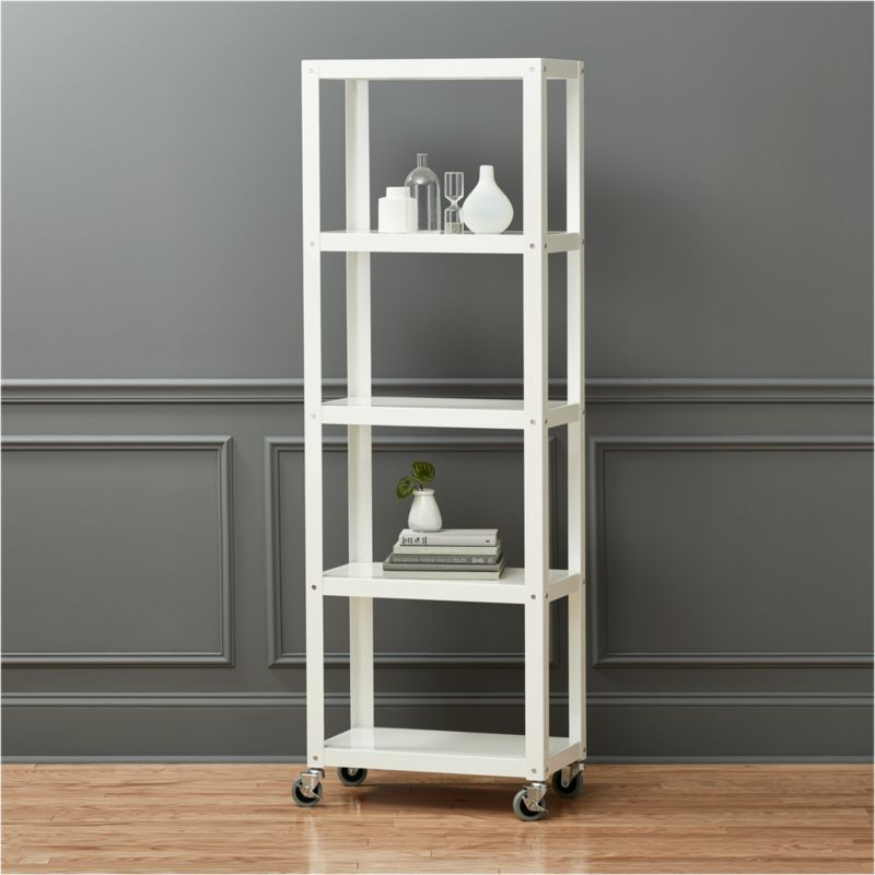 Go Cart White Five Shelf Rolling Bookcase