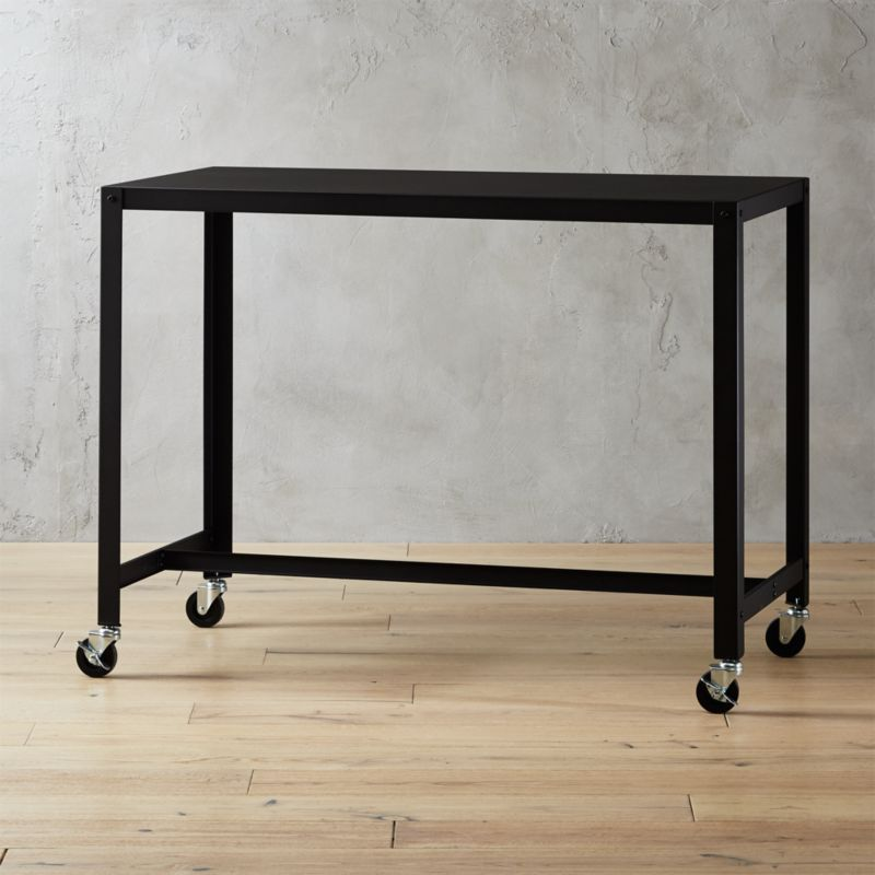 go cart black rolling counter table stand up desk - Black Writing Desk
