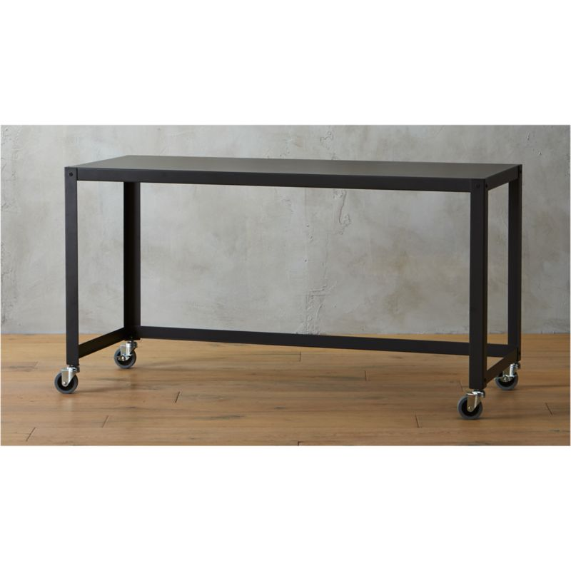 go cart black console table on wheels CB2