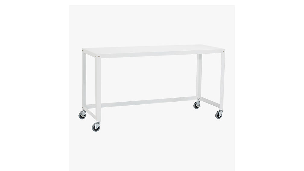 Go Cart White Console Table On Wheels | CB2
