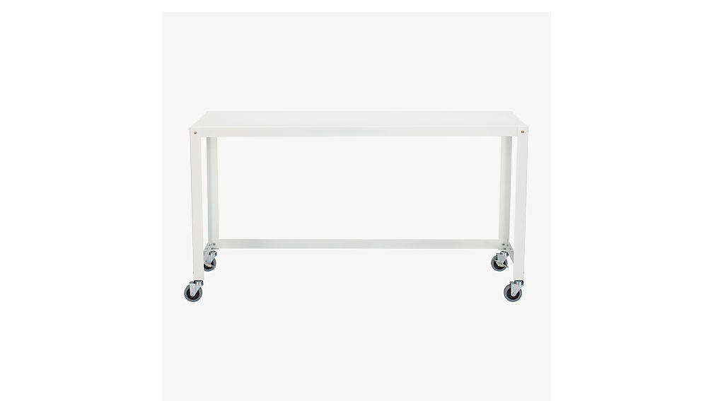 Go Cart White Rolling Console Table + Reviews | CB2