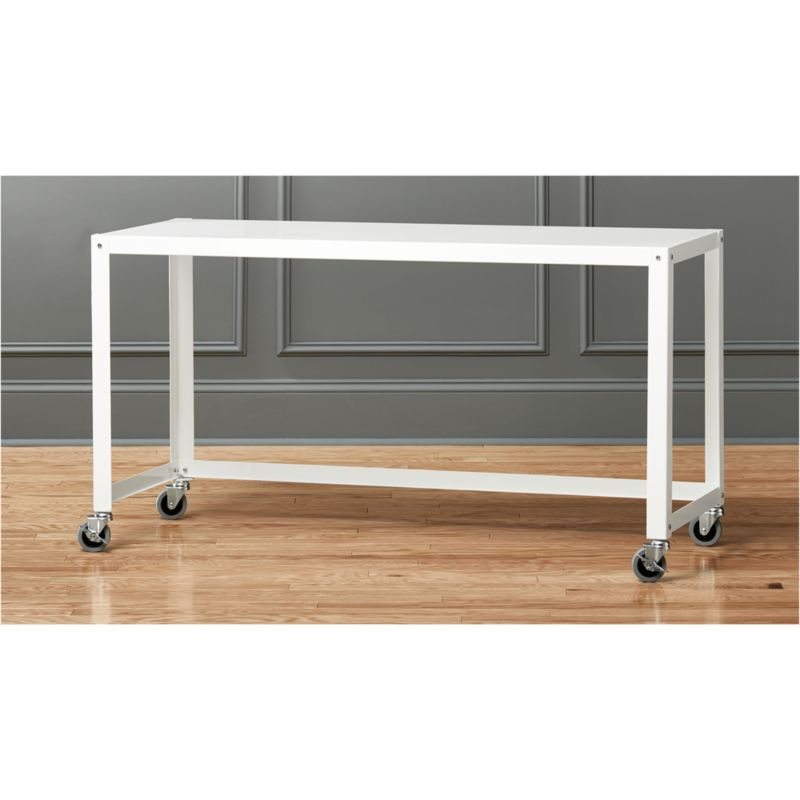Go Cart White Console Table On Wheels Cb2