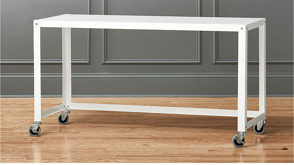 Gocart White Rolling Console Table Reviews CB - Cb2 sofa table