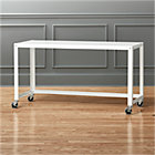 Go Cart Rolling White Counter Table Reviews Cb2