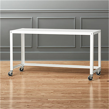 Go Cart White Rolling Console Table