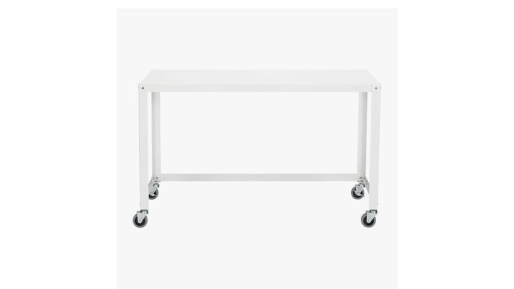 go cart white desk on wheels cb2