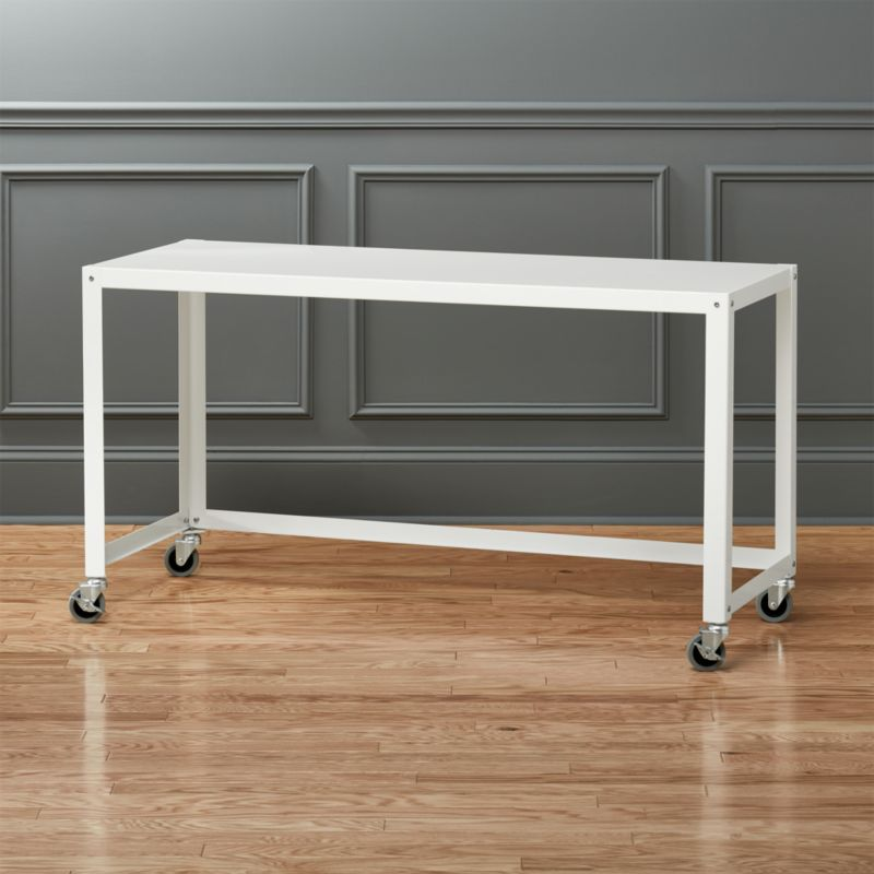 Go Cart White Rolling Desk