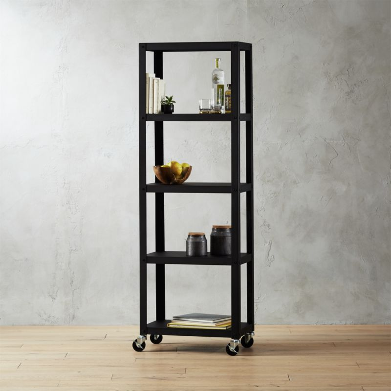 made l rolling blackened bookshelves custom library bookcase with handmade minimal steel by ladder