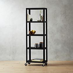 Go Cart Black Five Shelf Rolling Bookcase