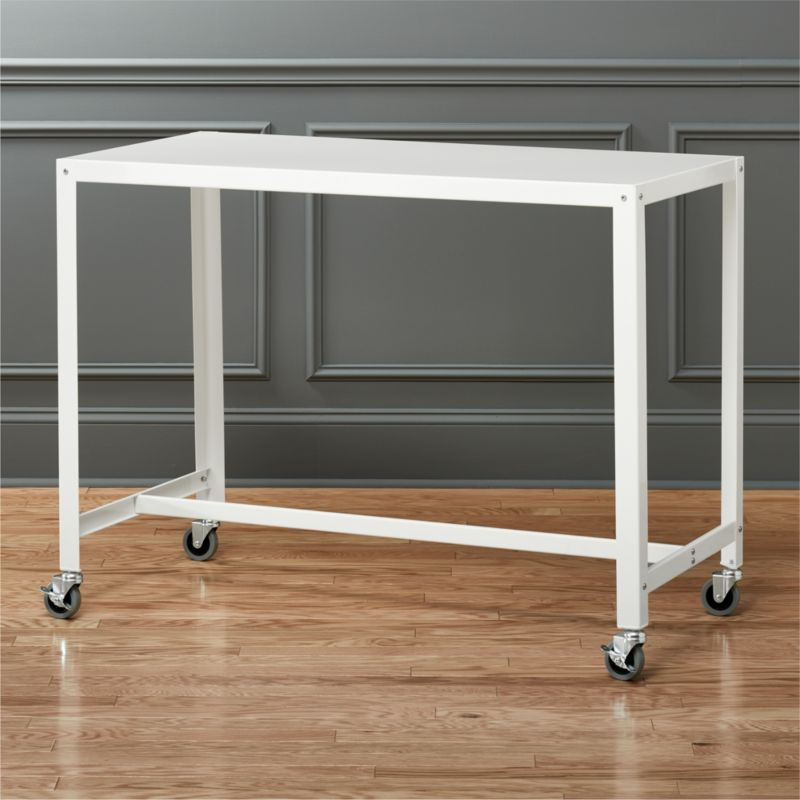 Go Cart White Rolling Counter Table Stand Up Desk