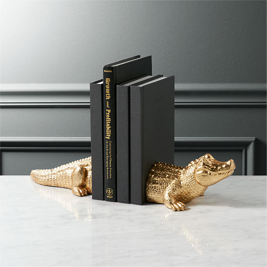 Set of 2 Alligator Bookends