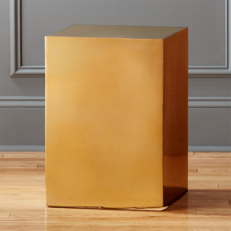 Beau Gold Cube Side Table + Reviews | CB2