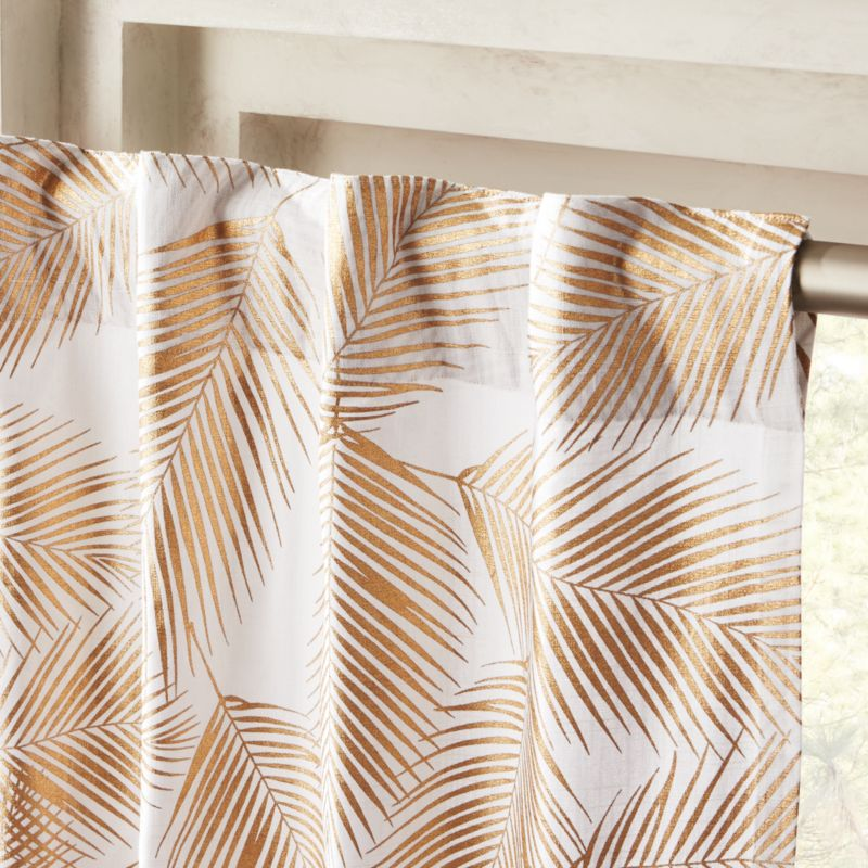 Gold Palm Leaf Curtain Panel
