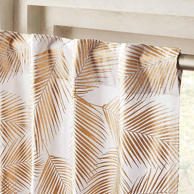 Cb2 Free Shipping >> Gold Palm Leaf Curtain Panel 48 X84 Reviews Cb2