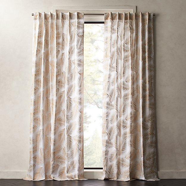 Gold Palm Leaf Curtain Panel Cb2