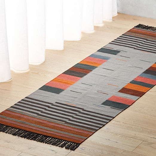 Gradient Grey Wool Runner 2.5'x8'