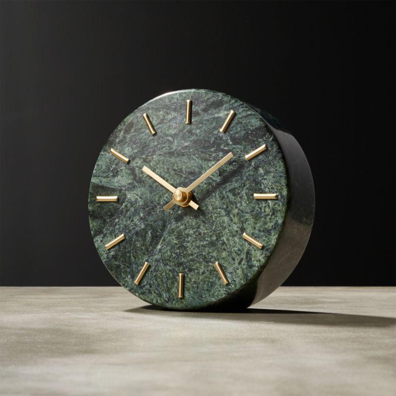 Round Green Marble Clock