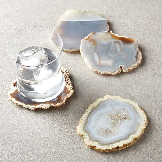 Grey Agate Coasters Set of 4