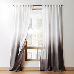 Black And Off White Patterned Curtain Panels