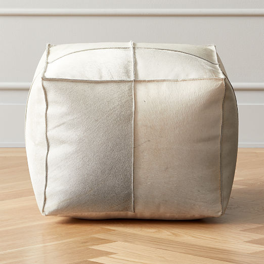 Grey Hide Pouf