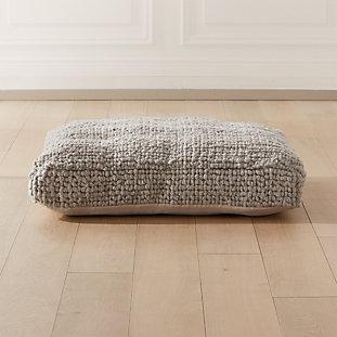 Grey Wool Braided Floor Cushion