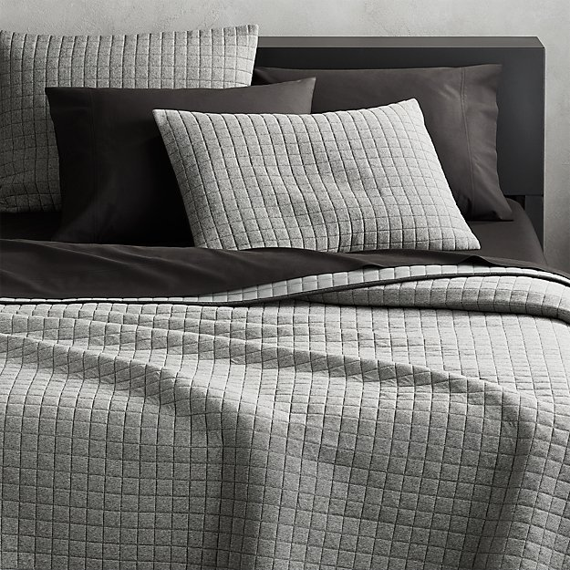 Grid Grey Cotton Jersey Bedding Cb2