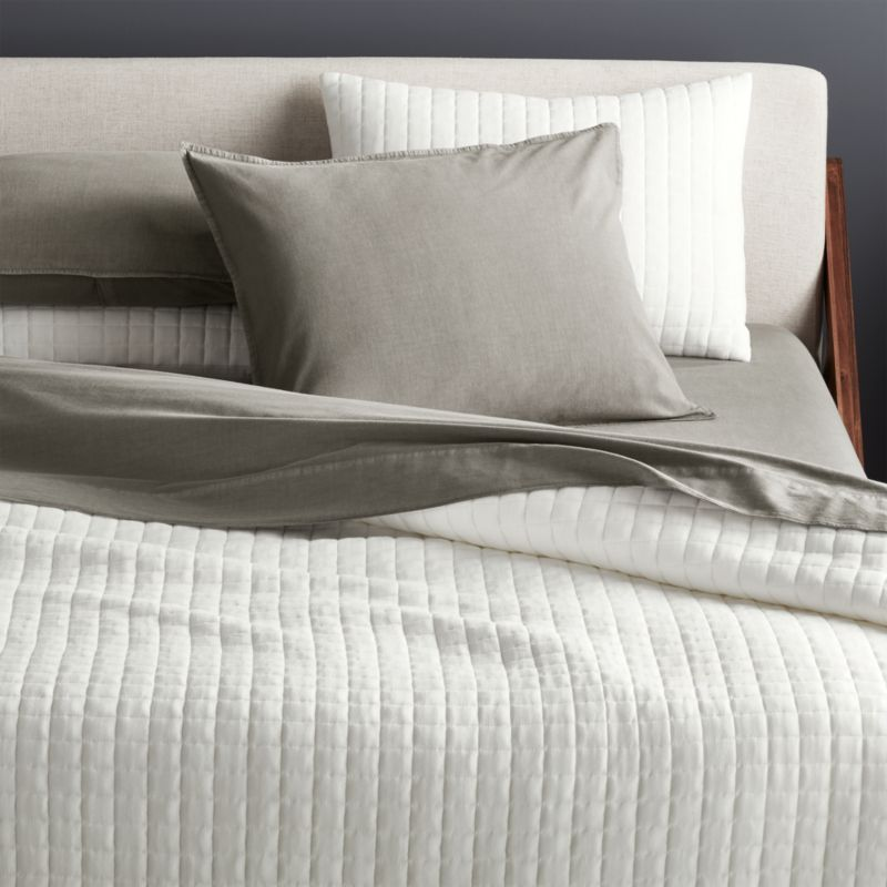 grid white cotton jersey bedding cb2