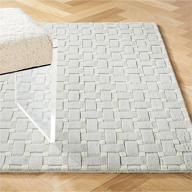 Grid Grey Hand Loomed Rug - Image 1 of 8