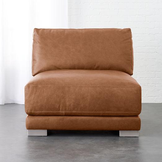 Gybson Cognac Leather Armless Chair