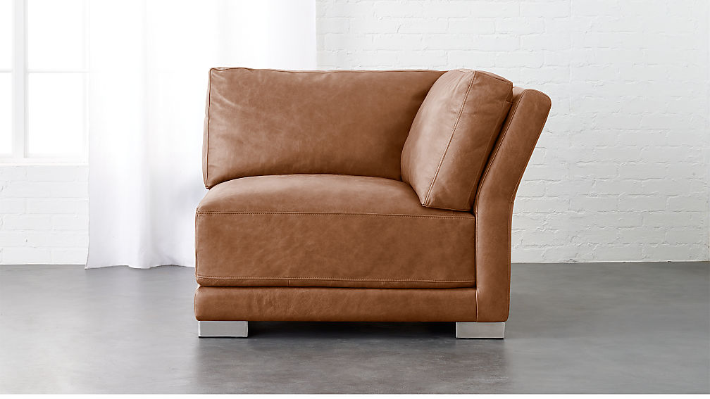 Gybson Cognac Leather Corner Chair Reviews Cb2