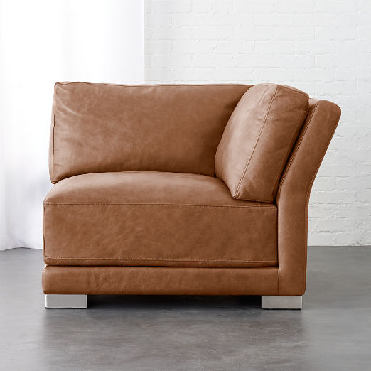 Gybson Cognac Leather Corner Chair
