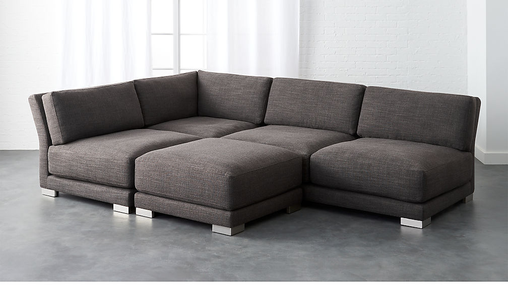 Gybson Earth Grey 4-Piece Sofa + Reviews | CB2