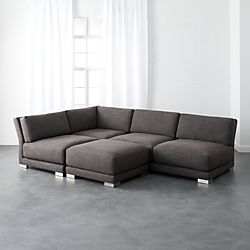 Gybson 4 Piece Earth Grey Sectional Sofa