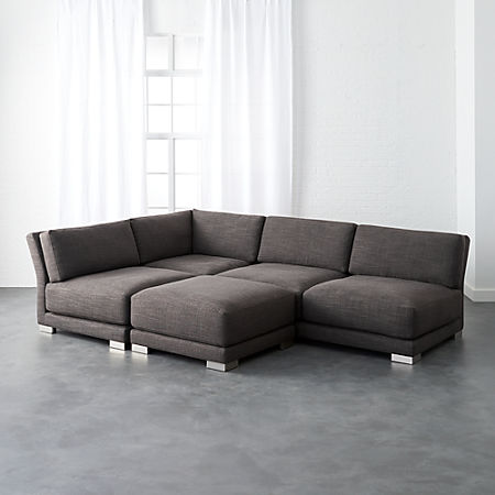 Pleasant Gybson 4 Piece Earth Grey Sectional Sofa Andrewgaddart Wooden Chair Designs For Living Room Andrewgaddartcom