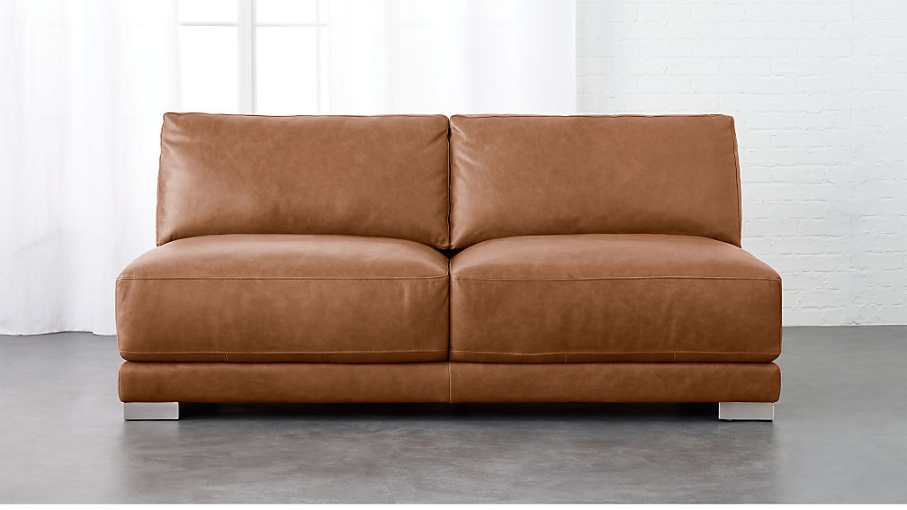 Gybson Cognac Leather Loveseat + Reviews   CB2