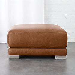 Gybson Cognac Leather Ottoman
