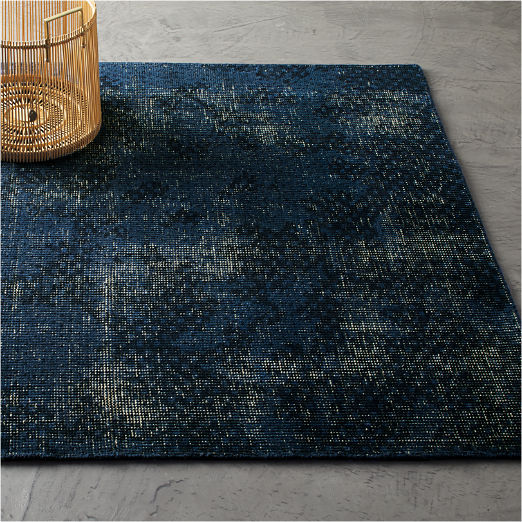 The Hill-Side Disintegrated Blue Floral Rug