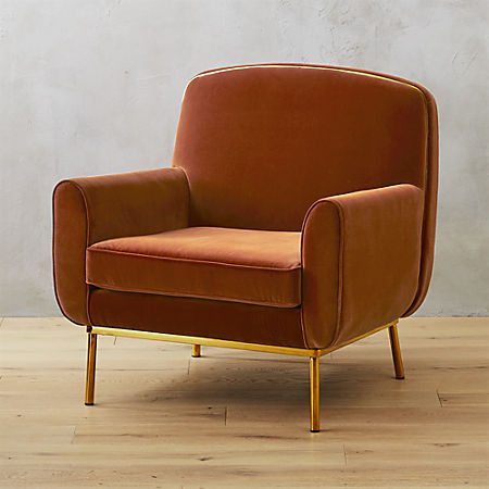 Halo Copper Velvet Armchair