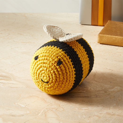 Hand Knit Bumble Bee Dog Toy