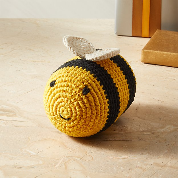 Hand Knit Bumble Bee Dog Toy - Image 1 of 6