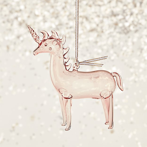 Pink Handblown Glass Unicorn Ornament - Image 1 of 4