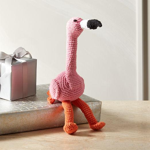 Hand Knit Flamingo Dog Toy