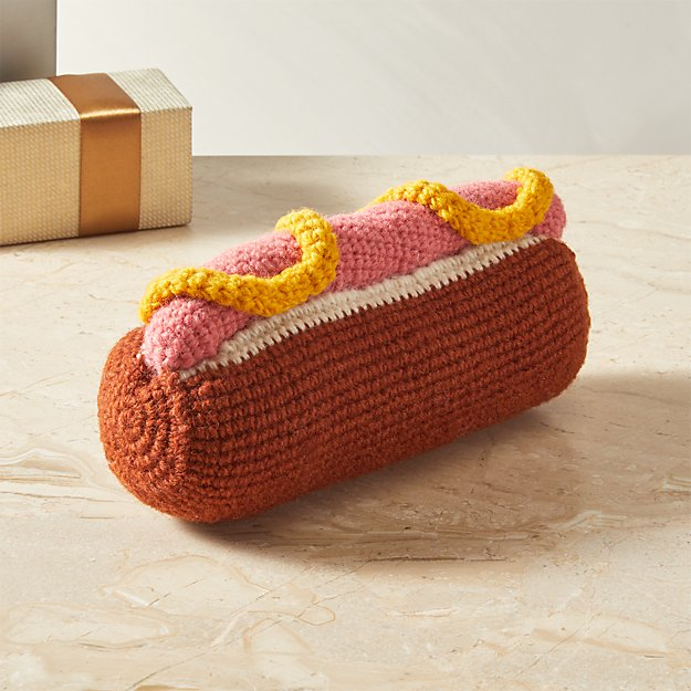Hand Knit Hot Dog Toy - Image 1 of 6