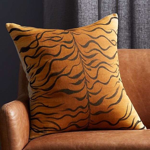 "23"" Handpainted Tiger Print Pillow - Image 1 of 7"