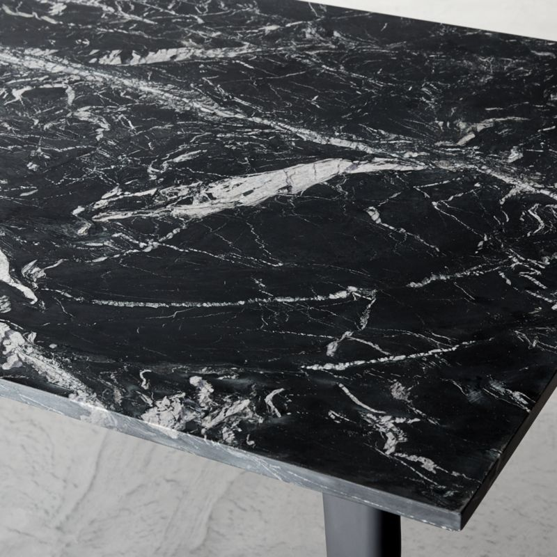 Harper Black Marble Dining Table Top + Reviews | CB2